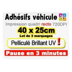 Adhésif véhicule 40x25cm (lot de 3)
