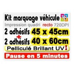 Kit marquage véhicule: 2 adhésifs 45x45cm + 2 adhésifs 40x60cm