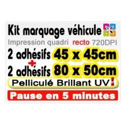 Kit marquage véhicule: 2 adhésifs 45x45cm + 2 adhésifs 80x50cm